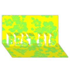 Bright Hawaiian Best Sis 3d Greeting Card (8x4)  by AlohaStore