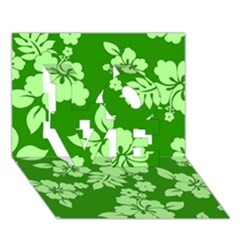 Green Hawaiian Love 3d Greeting Card (7x5)  by AlohaStore