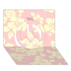 Pastel Hawaiian Peace Sign 3d Greeting Card (7x5)  by AlohaStore