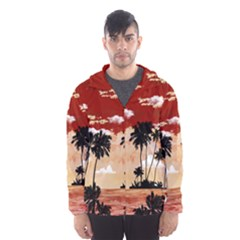 Palm trees_3 Hooded Wind Breaker (Men) by Wanni