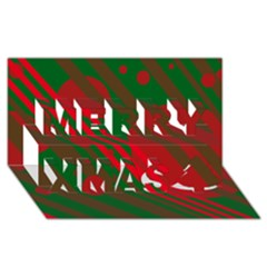 Red And Green Abstract Design Merry Xmas 3d Greeting Card (8x4)  by Valentinaart