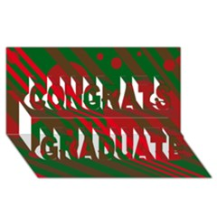 Red and green abstract design Congrats Graduate 3D Greeting Card (8x4)  by Valentinaart