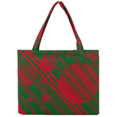 Red And Green Abstract Design Mini Tote Bag by Valentinaart