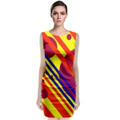 Hot Circles And Lines Classic Sleeveless Midi Dress