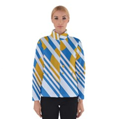 Blue, Yellow And White Lines And Circles Winterwear by Valentinaart