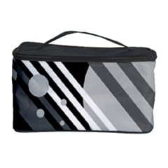Gray Lines And Circles Cosmetic Storage Case by Valentinaart