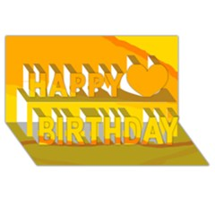 Yellow Decorative Design Happy Birthday 3d Greeting Card (8x4)  by Valentinaart