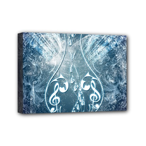 Music, Decorative Clef With Floral Elements In Blue Colors Mini Canvas 7  X 5  by FantasyWorld7