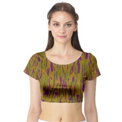 Decorative Pattern  Short Sleeve Crop Top (tight Fit) by Valentinaart