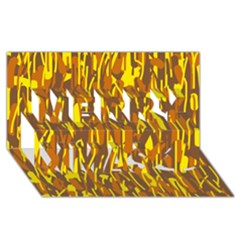 Yellow Pattern Merry Xmas 3d Greeting Card (8x4)  by Valentinaart