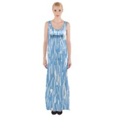 Blue Pattern Maxi Thigh Split Dress by Valentinaart