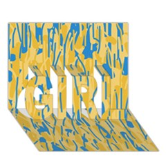 Yellow And Blue Pattern Girl 3d Greeting Card (7x5)  by Valentinaart