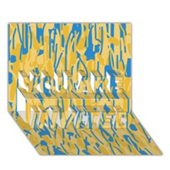Yellow And Blue Pattern You Are Invited 3d Greeting Card (7x5)  by Valentinaart