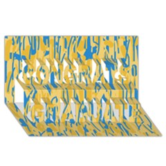 Yellow And Blue Pattern Congrats Graduate 3d Greeting Card (8x4)  by Valentinaart