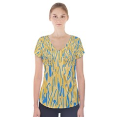 Yellow and blue pattern Short Sleeve Front Detail Top by Valentinaart