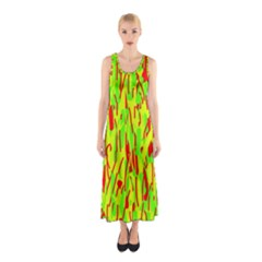 Green And Red Pattern Sleeveless Maxi Dress by Valentinaart