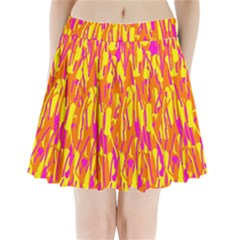 Pink And Yellow Pattern Pleated Mini Mesh Skirt by Valentinaart