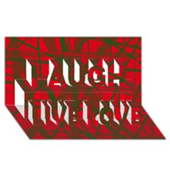 Red Pattern Laugh Live Love 3d Greeting Card (8x4)