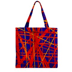 Orange And Blue Pattern Zipper Grocery Tote Bag by Valentinaart