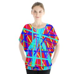 Colorful Pattern Batwing Chiffon Blouse