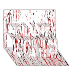 Red, Black And White Pattern Take Care 3d Greeting Card (7x5)  by Valentinaart