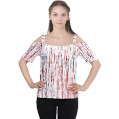 Red, Black And White Pattern Women s Cutout Shoulder Tee by Valentinaart