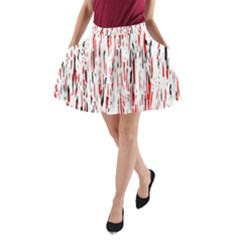 Red, Black And White Pattern A Line Pocket Skirt by Valentinaart