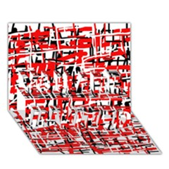 Red, White And Black Pattern You Are Invited 3d Greeting Card (7x5)  by Valentinaart