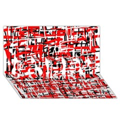 Red, White And Black Pattern Sorry 3d Greeting Card (8x4)  by Valentinaart
