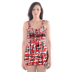 Red, white and black pattern Skater Dress Swimsuit by Valentinaart