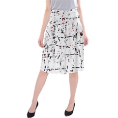 Red, White And Black Pattern Midi Beach Skirt