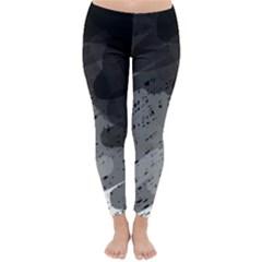 Black And Gray Pattern Winter Leggings  by Valentinaart