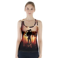 Dancing In The Night With Moon Nd Stars Racer Back Sports Top by FantasyWorld7