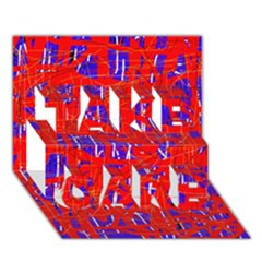 Blue And Red Pattern Take Care 3d Greeting Card (7x5)  by Valentinaart