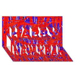 Blue And Red Pattern Happy New Year 3d Greeting Card (8x4)  by Valentinaart
