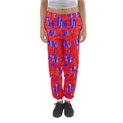 Blue And Red Pattern Women s Jogger Sweatpants by Valentinaart