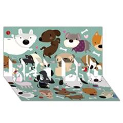 Dog Pattern Best Bro 3d Greeting Card (8x4)  by Mjdaluz