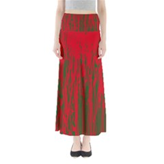 Red and green pattern Maxi Skirts by Valentinaart