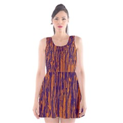 Blue and orange pattern Scoop Neck Skater Dress by Valentinaart