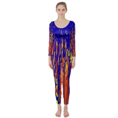 Orange, Blue And Yellow Pattern Long Sleeve Catsuit by Valentinaart