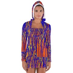 Orange, blue and yellow pattern Women s Long Sleeve Hooded T-shirt by Valentinaart
