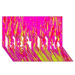 Pink And Yellow Pattern Best Bro 3d Greeting Card (8x4)  by Valentinaart