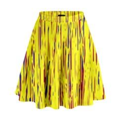 Yellow Pattern High Waist Skirt by Valentinaart