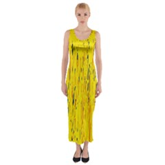 Yellow pattern Fitted Maxi Dress by Valentinaart