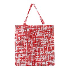 Red Decorative Pattern Grocery Tote Bag by Valentinaart