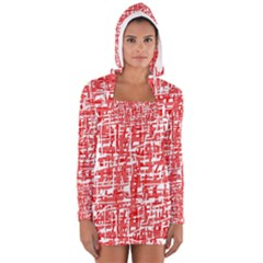 Red decorative pattern Women s Long Sleeve Hooded T-shirt by Valentinaart