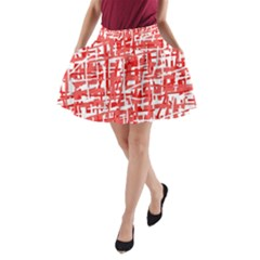 Red Decorative Pattern A Line Pocket Skirt by Valentinaart