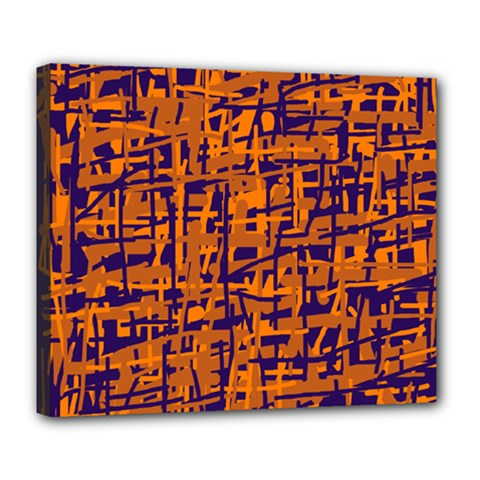 Blue And Orange Decorative Pattern Deluxe Canvas 24  X 20   by Valentinaart
