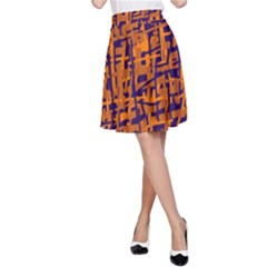 Blue And Orange Decorative Pattern A Line Skirt by Valentinaart