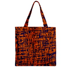 Blue And Orange Decorative Pattern Zipper Grocery Tote Bag by Valentinaart